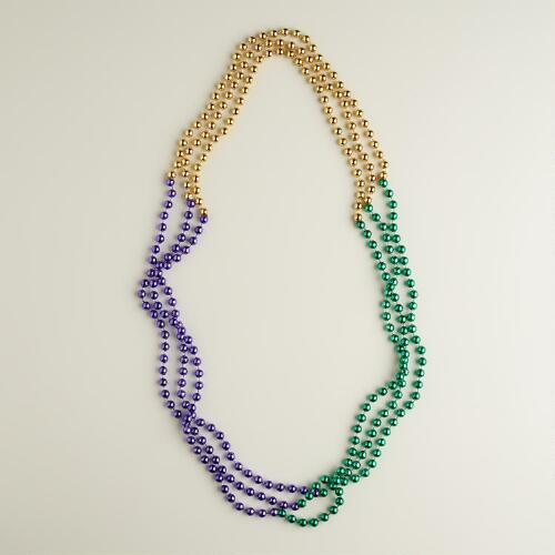 Green, Gold and Purple Mardi Gras Beads, 3-Pack