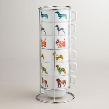 Dog Stacking Mugs, Set of 6