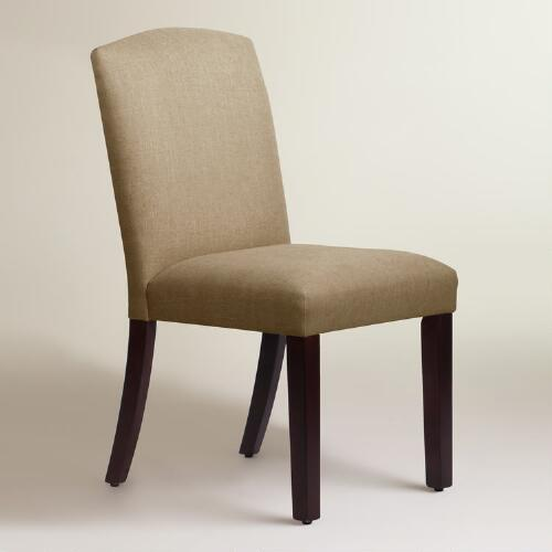 Linen rena upholstered dining chair world market for Upholstered linen dining chairs