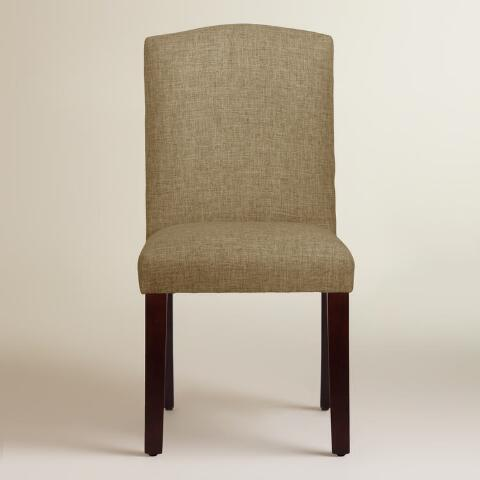 Linen blend rena upholstered dining chair world market for Upholstered linen dining chairs