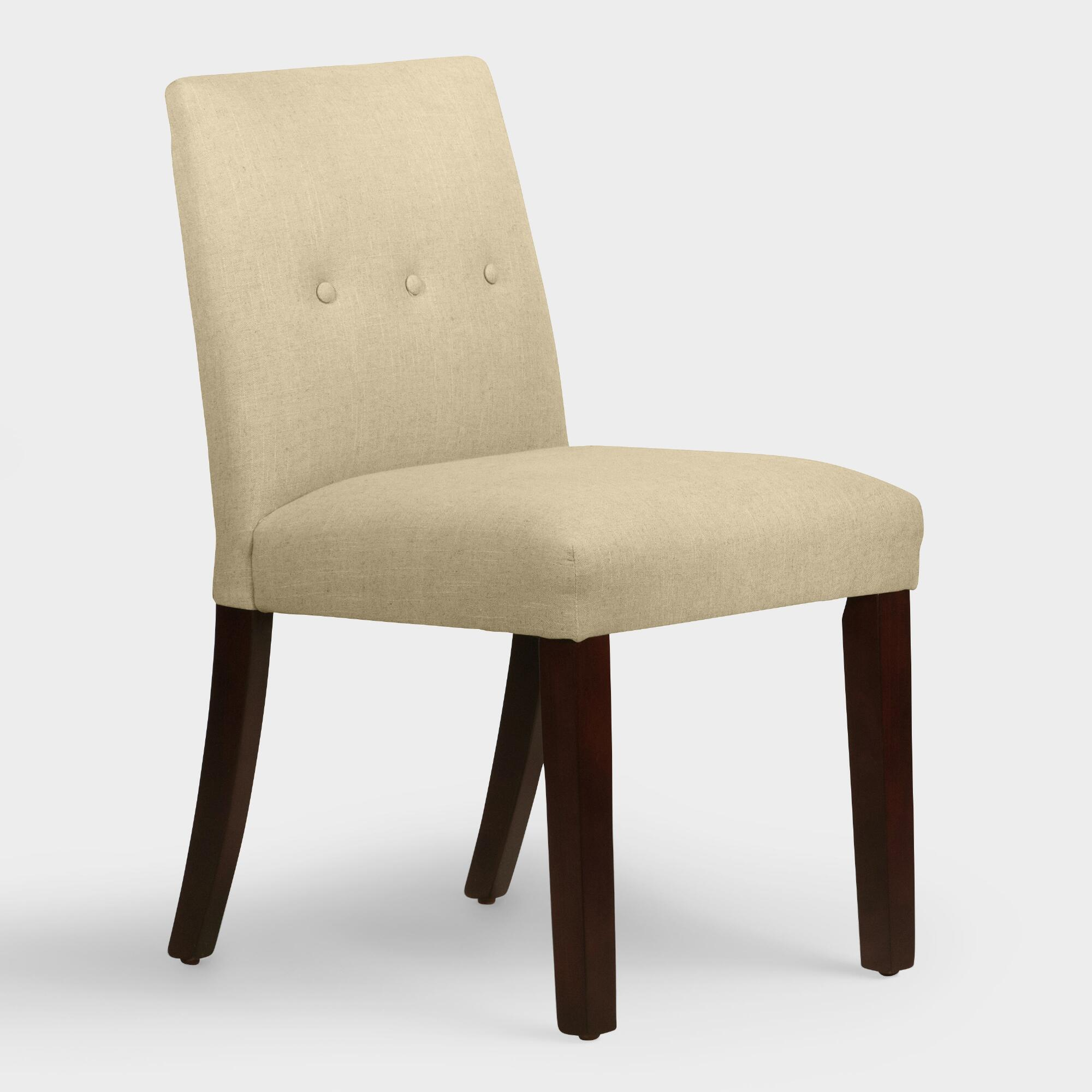 Linen jule upholstered dining chair world market for Upholstered linen dining chairs