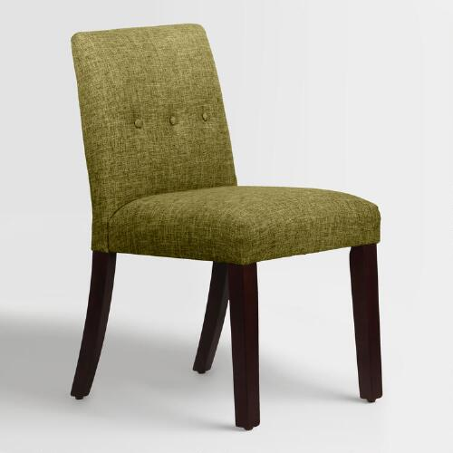 Linen blend jule upholstered dining chair world market for Upholstered linen dining chairs
