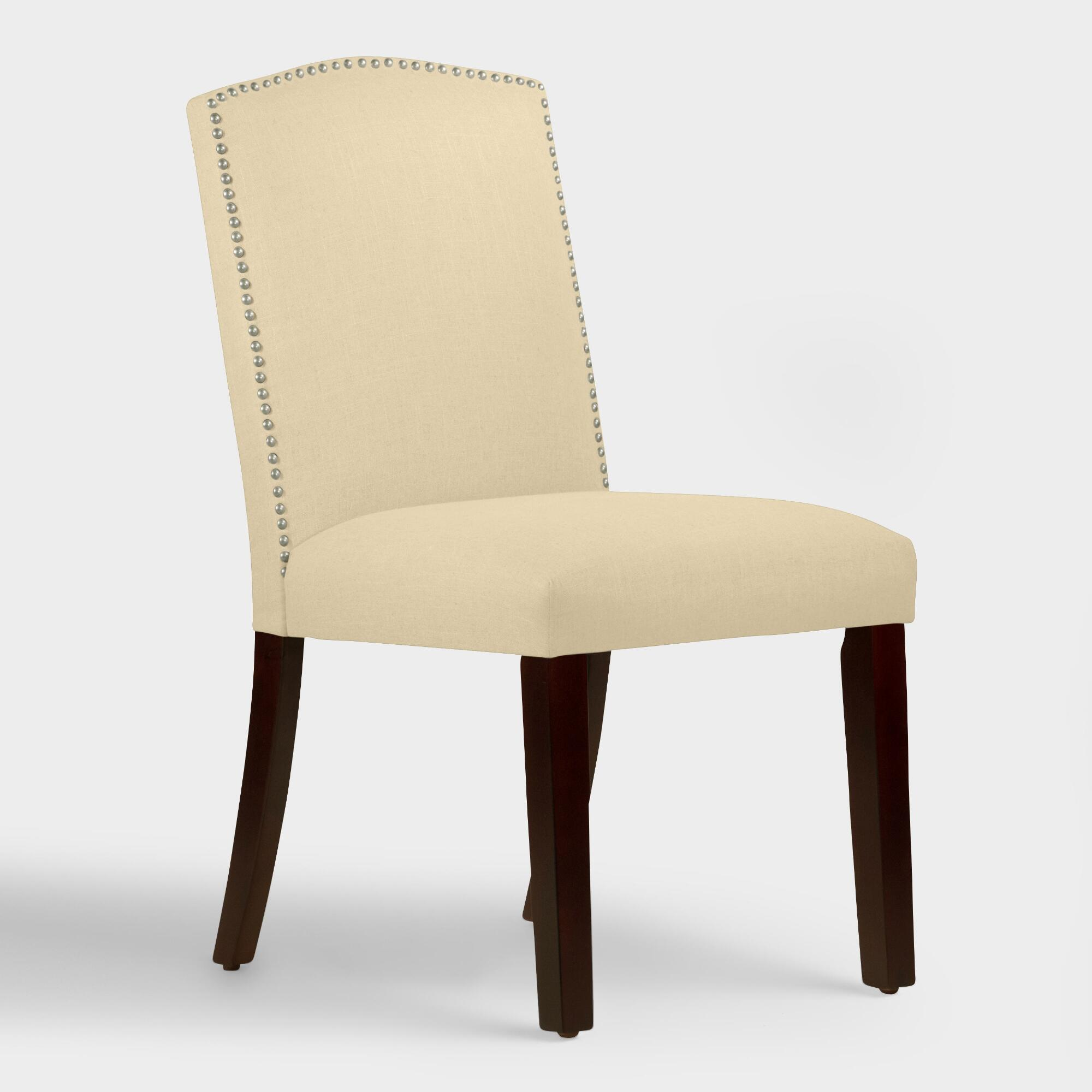 Linen abbie upholstered dining chair world market for Upholstered linen dining chairs