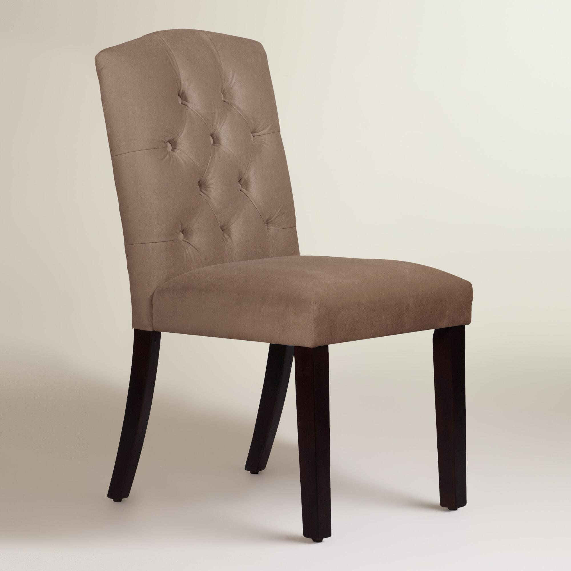 Velvet tufted zoey dining chair world market for Dining room velvet chairs