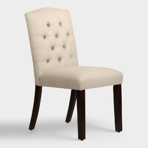 Linen tufted zoey upholstered dining chair world market for Upholstered linen dining chairs