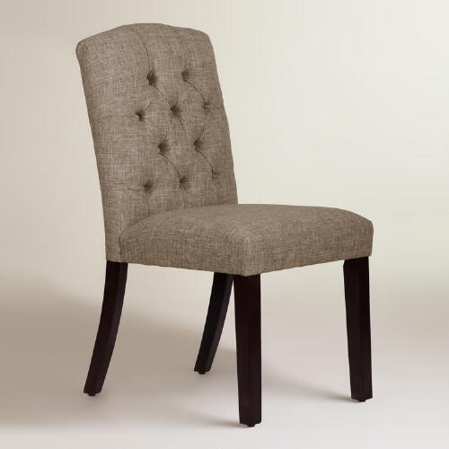 Linen-Blend Tufted Zoey Upholstered Dining Chair