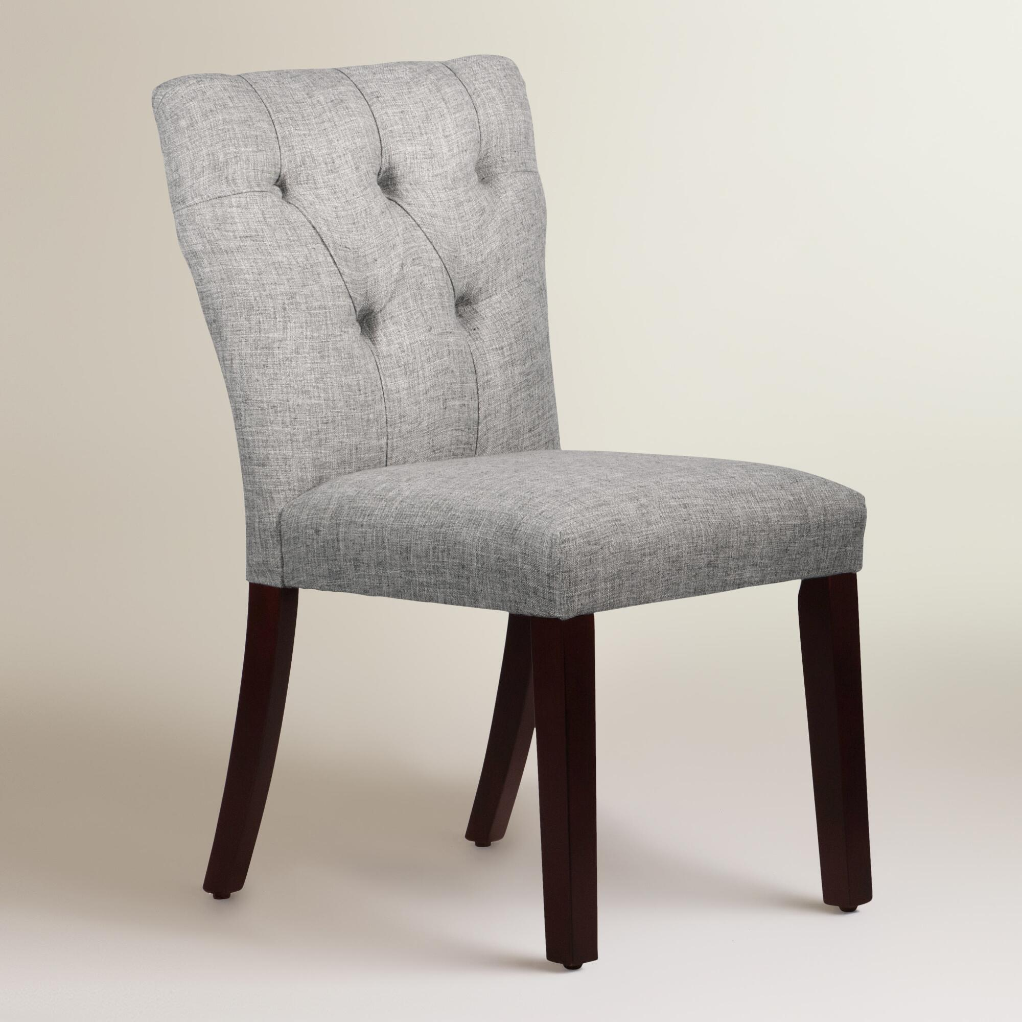 Linen blend tufted gabie dining chair world market - Tufted dining room chairs ...
