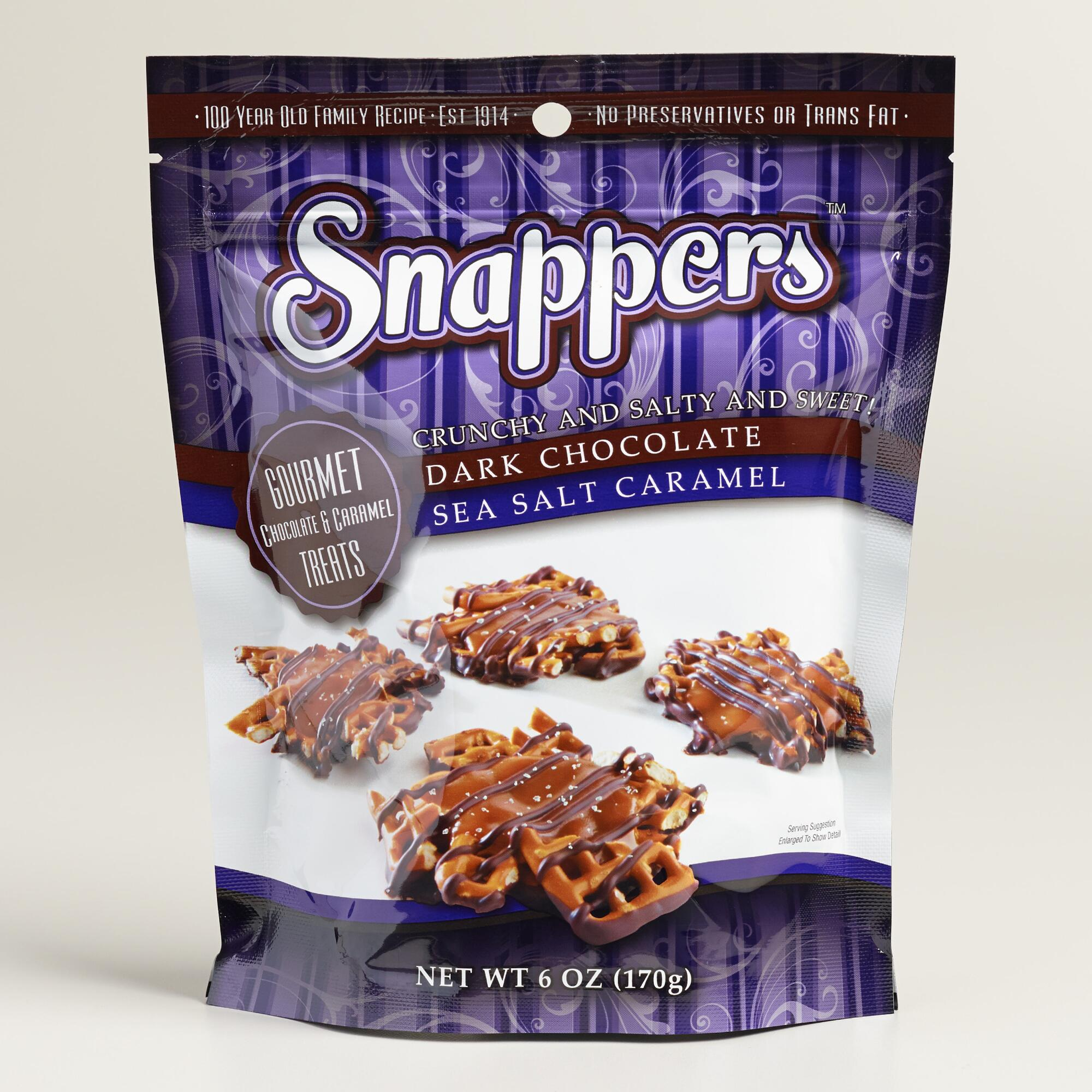 Snapper's Dark Chocolate And Caramel Sea Salt Pretzels