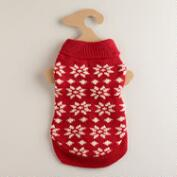 Small Red Knit Snowflake Dog Sweater