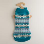 Medium Blue Fairisle Dog Sweater