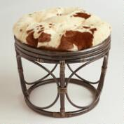 Cowhide Faux Fur Papasan Stool Cushion