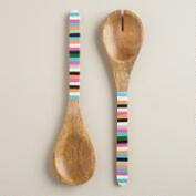 Striped Wood Salad Servers, Set of 2