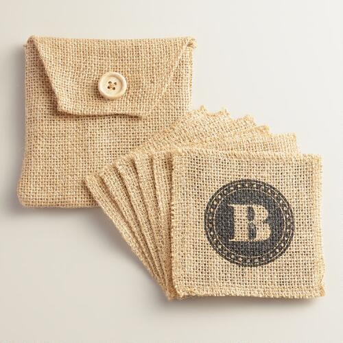 """B"" Monogram Jute Coasters, Set of 6"