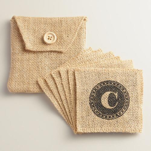 """C"" Monogram Jute Coasters, Set of 6"