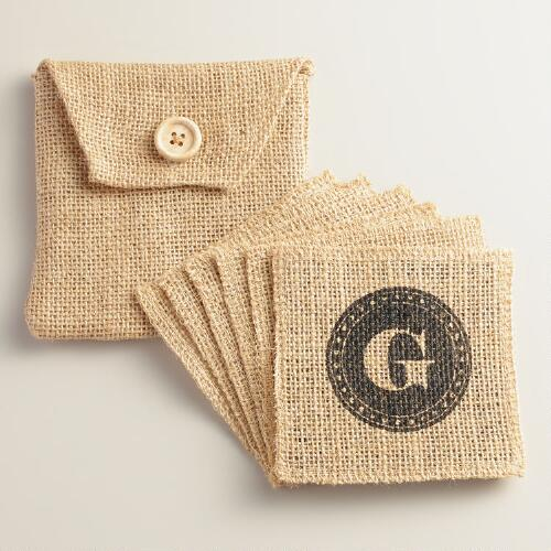 """G"" Monogram Jute Coasters, Set of 6"