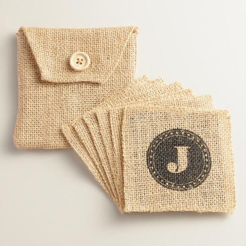 """J"" Monogram Jute Coasters, Set of 6"