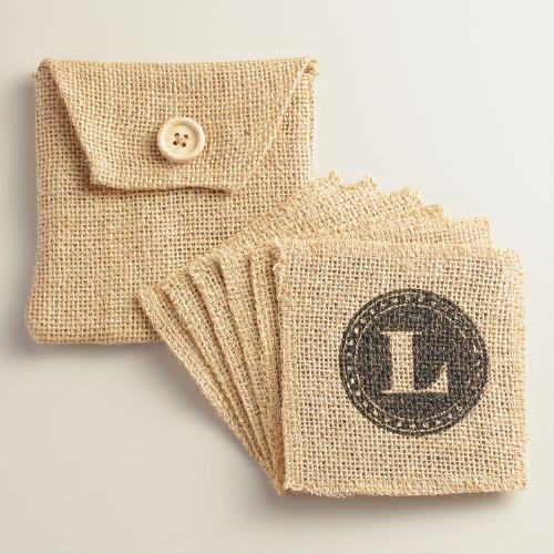 """L"" Monogram Jute Coasters, Set of 6"