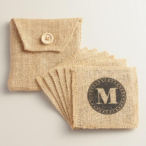 """M"" Monogram Jute Coasters, Set of 6"