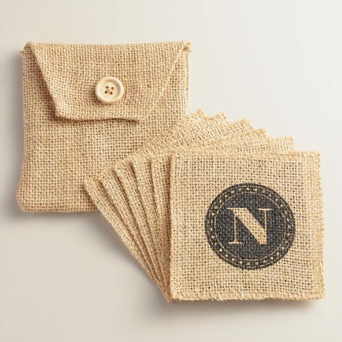 """N"" Monogram Jute Coasters, Set of 6"