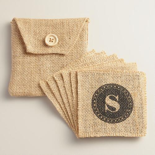 """S"" Monogram Jute Coasters, Set of 6"