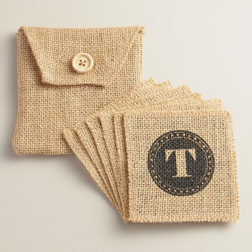 """T"" Monogram Jute Coasters, Set of 6"