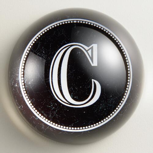 """C"" Monogram Glass Paperweight"