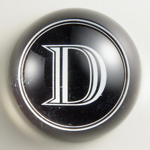 """D"" Monogram Glass Paperweight"