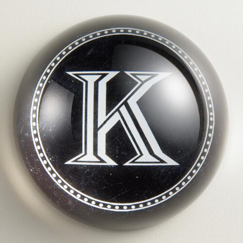 """K"" Monogram Glass Paperweight"