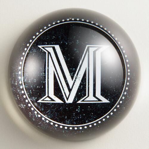 """M"" Monogram Glass Paperweight"