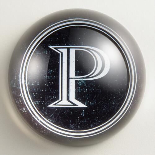 """P"" Monogram Glass Paperweight"