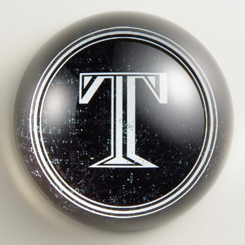 """T"" Monogram Glass Paperweight"