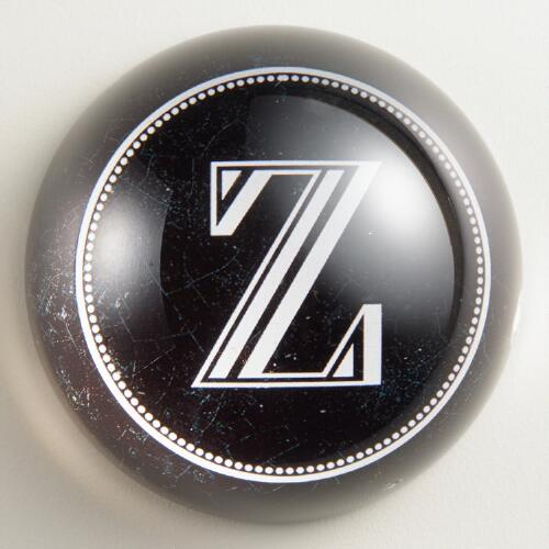 """Z"" Monogram Glass Paperweight"