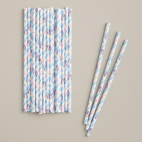 Bunny and Egg Paper Straws, 25-Pack