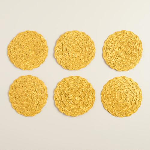 Goldenrod Poly-Braided Coasters, Set of 6