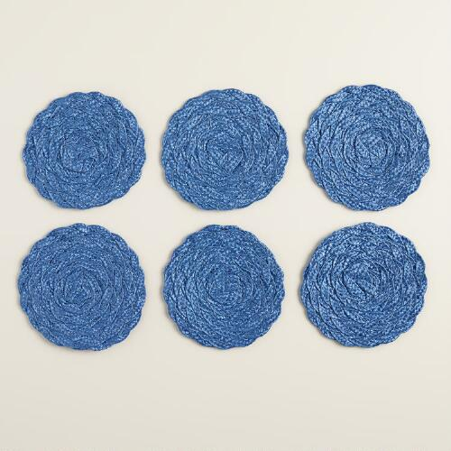 Delft Blue Poly-Braided Coasters, Set of 6