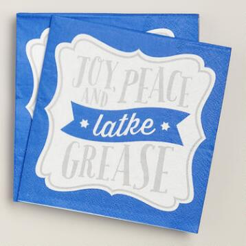 Joy Peace and Latke Grease Cocktail Napkins, 20-Count