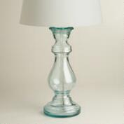 Recycled Glass Pedestal Table Lamp Base