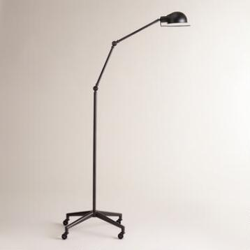 Aged Black Rolling Task Floor Lamp
