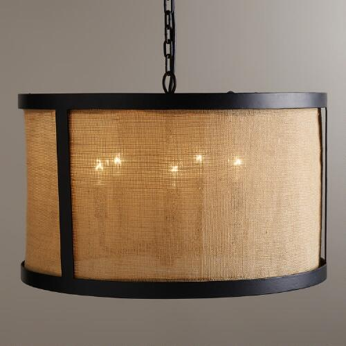 Burlap Drum Chandelier
