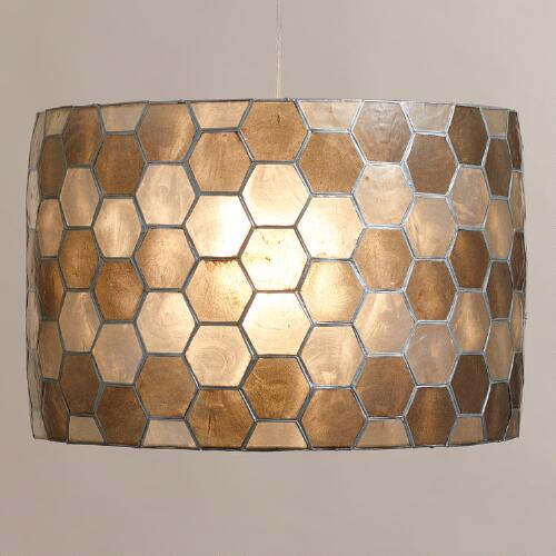 Honeycomb Capiz Drum Pendant Lamp