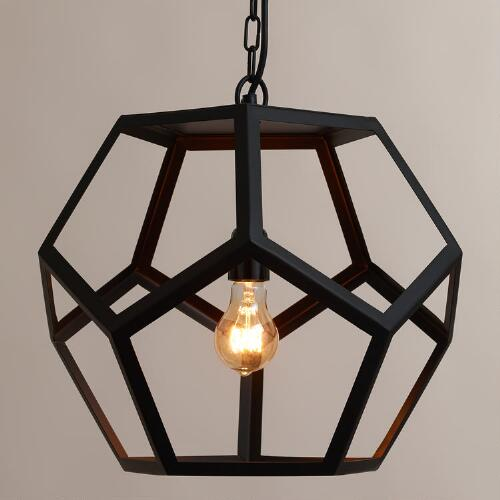 Black Metal Hexagon Pendant Lamp