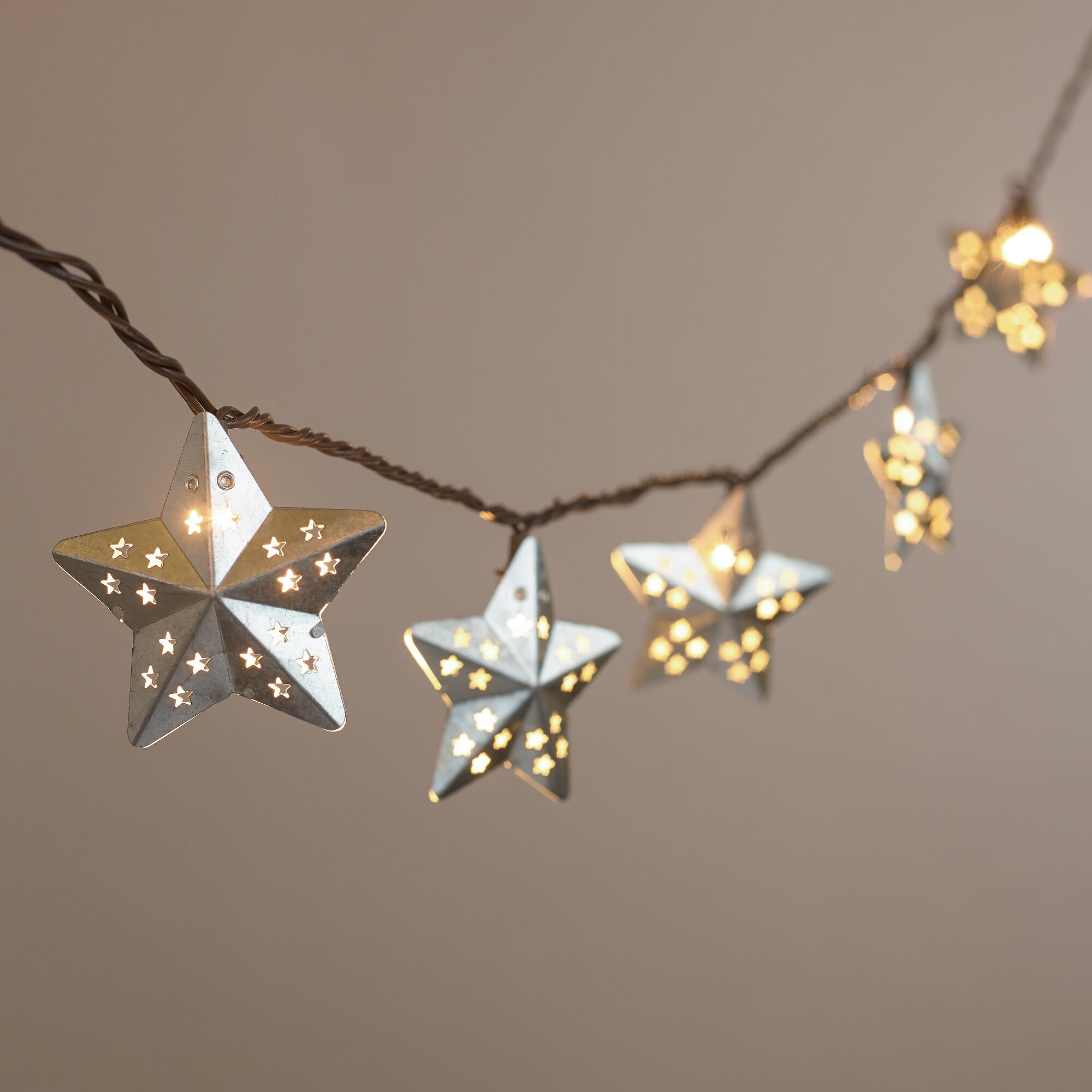 Metal Cap String Lights : Galvanized Metal Stars 10-Bulb String Lights World Market