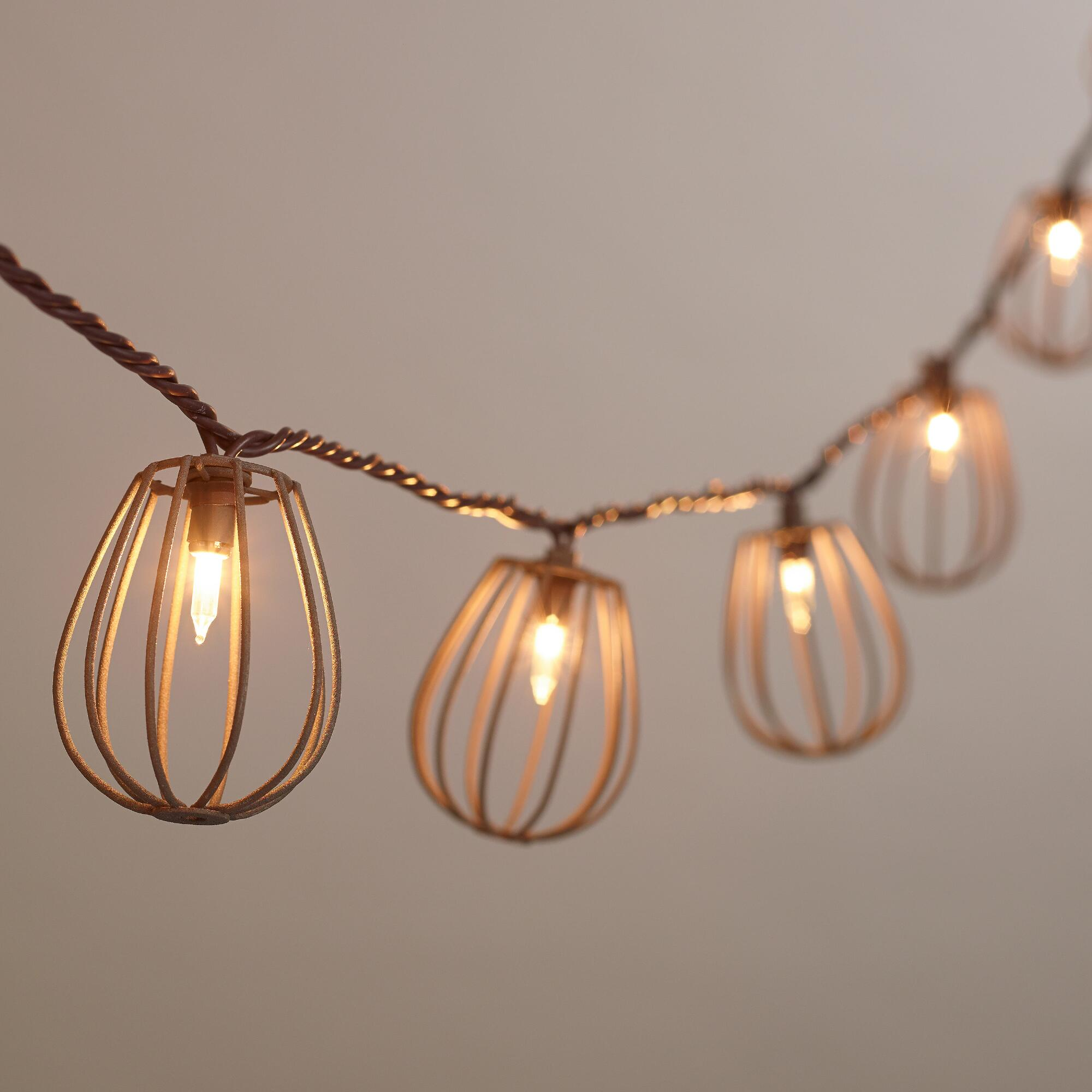 Rustic Indoor String Lights : Rustic Wire Cage 10-Bulb String Lights World Market