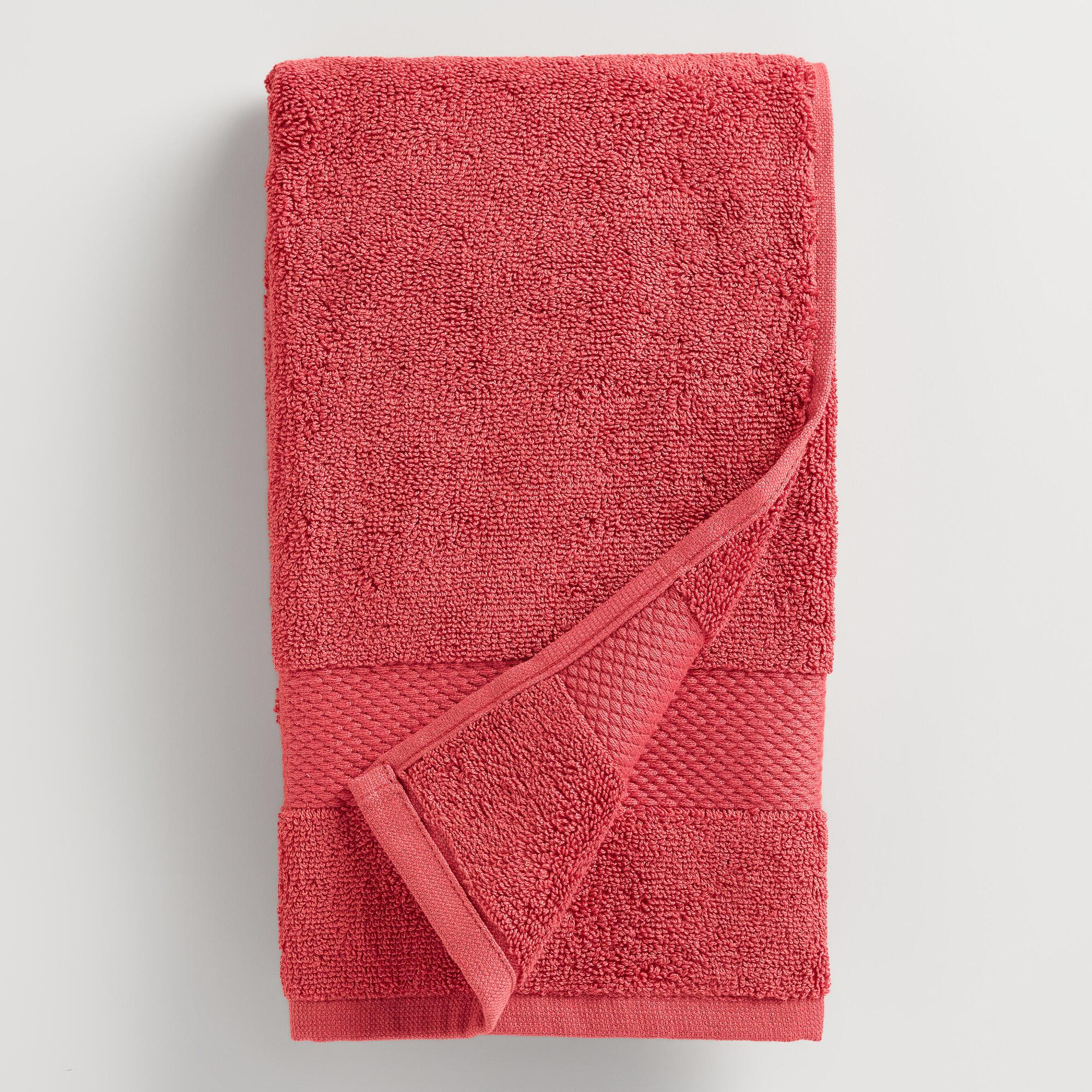 Coral Cotton Hand Towel