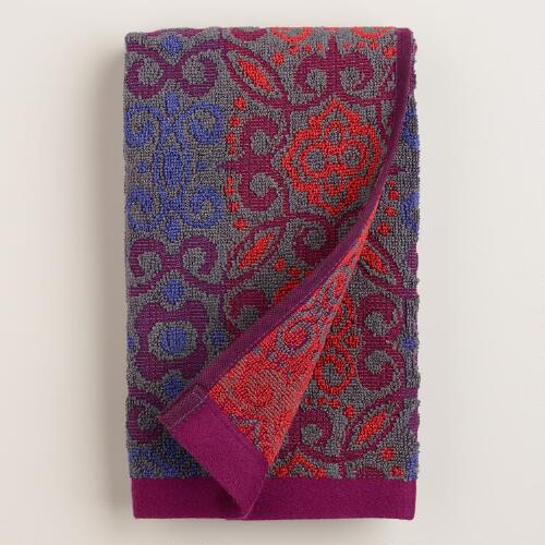 Gray and Plum Adriana Medallion Sculpted Hand Towel