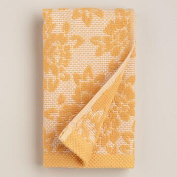 Amber Honeycomb Floral Sculpted Hand Towel
