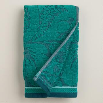 Teal Esme Sculpted Hand Towel