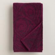 Purple Peacock Feather Jacquard Hand Towel