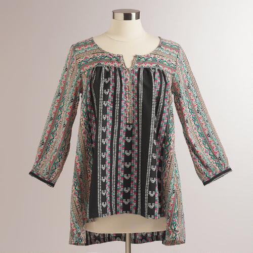 Black and Pink Tribal Bria Blouse