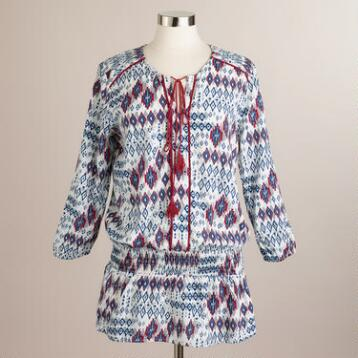 Blue and Red Ikat Cali Blouse